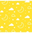 Moon and clouds yellow seamless pattern vector image vector image