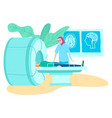 mri tomography scanner in hospital muslim doctor vector image