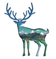 nature landscape inside deer silhouette vector image vector image