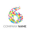 number six logo with blue yellow red particles vector image vector image