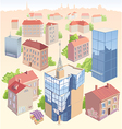 Old and New City Buildings Set vector image vector image