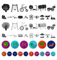 playground entertainment flat icons in set vector image