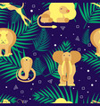 seamless pattern with palm and animals vector image vector image