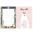 set greeting cards with cute animal and forest vector image vector image