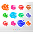 set of colorful abstract rounded sale stickers vector image vector image