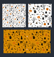 set of halloween seamless pattern design with vector image