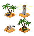 set tropical islands in cartoon style vector image