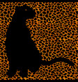 silhouette leopard ocelot or wild cat on repeated vector image