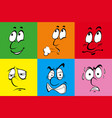six different emotions on color background vector image