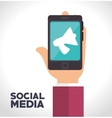 smartphone megaphone social media isolated icon vector image