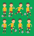 soccer players poses set green field vector image vector image