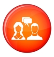 Speech bubbles with two faces icon flat style vector image vector image