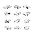 sport old fast cars clipart cartoon collection vector image vector image