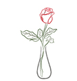 Stylized red rose in a vase vector image