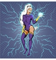 Superhero Woman With Fireball vector image vector image