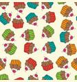 sweet seamless cupcakes pattern vector image