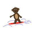 Teddy bear on snowboards vector image vector image