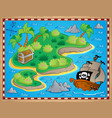 theme with island and treasure 2 vector image