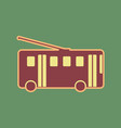 trolleybus sign cordovan icon and mellow vector image vector image