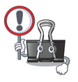 with sign binder clip in the character shape vector image vector image