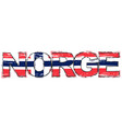 word norge norwegian translation of norway with vector image vector image