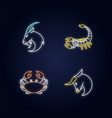 astrological signs neon light icons set vector image