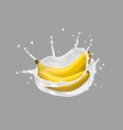 banana and milk splash 3d icon vector image vector image