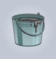 bucket with cement mortar pop art vector image