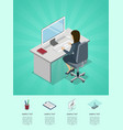 business woman working in office at computer vector image vector image