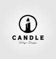 candle logo vintage symbol design candlelight vector image vector image