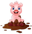 Cartoon pig play in a mud puddle vector image vector image
