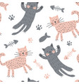 childish seamless pattern with cute cats creative vector image vector image