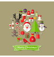 Christmas Ball Flat Icons Set with Santa Claus vector image vector image