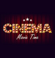 cinema movie time banner vintage cinema 3d vector image
