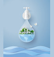 concept eco and wolrd water day with family vector image vector image