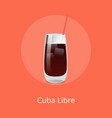 cuba libre cocktail template vector image