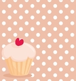 Cupcake on white polka dots pink background vector image vector image