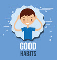 cute boy training activity good habits vector image