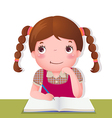 Cute girl thinking while working on her school vector image vector image