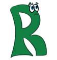 Emoji sad green alphabetical letter r or