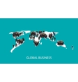 flat business people standing on world vector image vector image