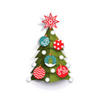 flat paper cut christmas tree decoration element vector image