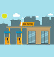 gas filling station with cityscape silhouette in vector image vector image