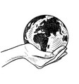 girls holding planet earth vector image vector image