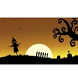 Halloweenn scarecrow silhouette vector image vector image