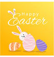 happy easter bunny eggs orange background i vector image