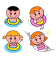 happy swimming kids set vector image vector image