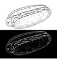 hot dog outline sketch vector image vector image