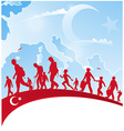 immigration people on turkey flag vector image