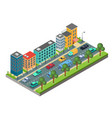 isometric element of city road with buildings and vector image vector image